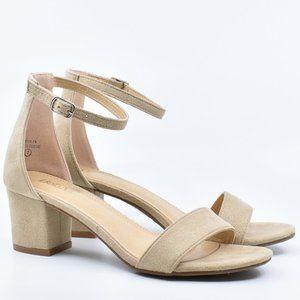 New Beige Faux Suede Ankle Strap Block Short Heels